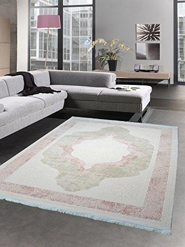 Teppich Wollteppich Ornamente Oriental Creme Taupe rosa auch in oval erhältlich Größe 80x150 cm -