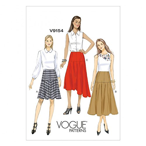Vogue Damen Easy Schnittmuster 9154Bias Cut Ausgestelltem Rock + Gratis Minerva Crafts Craft Guide (Damen-bias-cut)