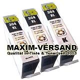 3x Tintenpatronen Set kompatibel zu HP 364 XL Black mit Chip & Füllstandsanzeige (kein Original)
