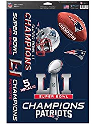 WinCraft NFL NEW ENGLAND PATRIOTS Super Bowl 2017 Champions Multi-Use Decal