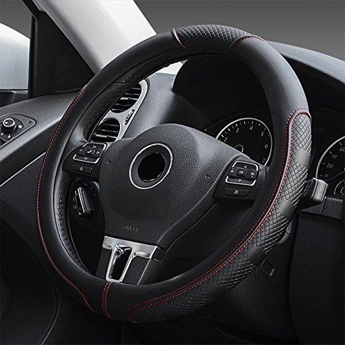 FLKAYJM Universal Auto Lenkradhülle aus Mikrofaser-Leder, Universal Passend 37-39CM / 15'', Atmungsaktiv, Anti Rutsch, Lenkradschutz für Auto Zubehör - Schwarz & Rot
