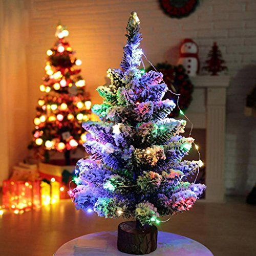 Multi Color Christmas Tree (Wawer Beflockung Schnee Christmas Tree LED Multicolor Lichter Urlaub Dekoration (Multicolor))