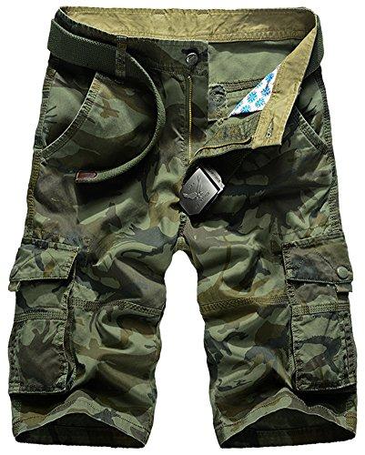 Mochoose Herren Sommer Casual Camouflage Baumwoll Twill Cargo Shorts Multi Taschen Outdoor Tragen Hosen(Armeegrün,30) (Cargo-badeanzug)