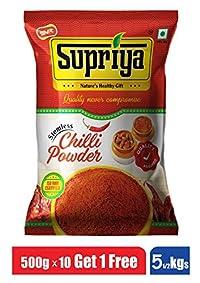 Supriya Pickles Chilli Powder 5KG - (Pack of 10 & Get 1 Free) Stemless Quality