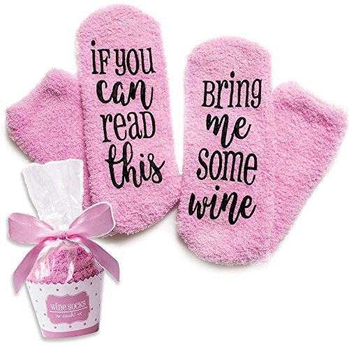 "Luxury ""If You Can Read This Bring Me Some Wine"" Wine Socks with Cupcake Gift Packaging by Smith's (Gift Idea, Funny Wine Accessory for Women, Great Birthday & Housewarming Present)"