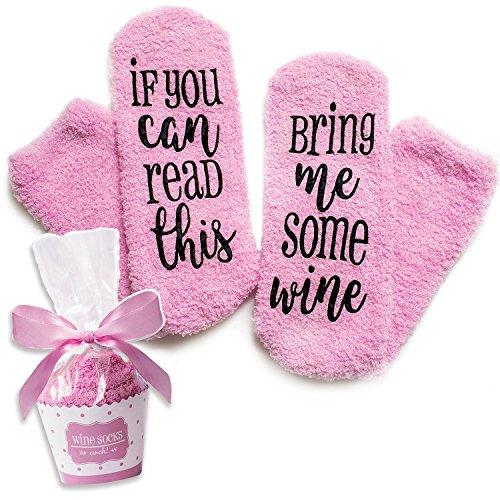 Pinke Luxus-Wein-Socken mit 'If You Can Read This Bring Me Some Wine' mit Cupcake-Geschenkverpackung...