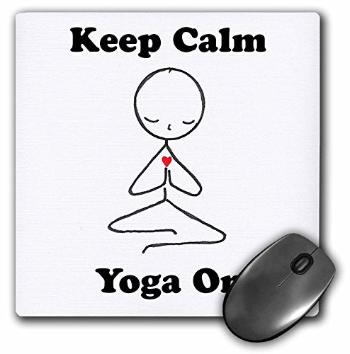 3drose LLC 20,3 x 20,3 x 0,6 cm Maus Pad, Keep Calm And Yoga auf Meditation Stick Figur Yoga Lotus-Position (MP _ 123070 _ 1)