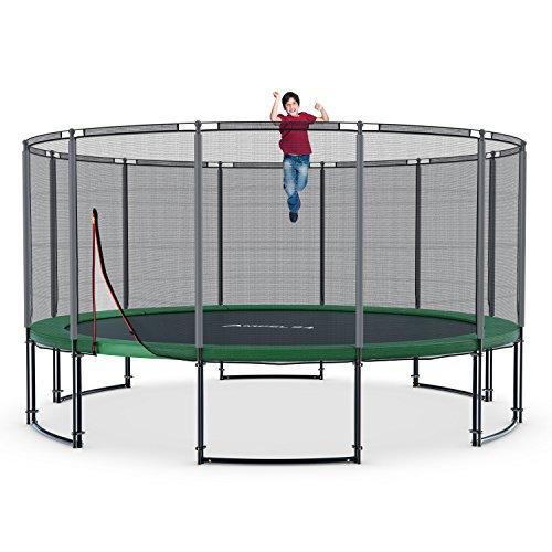 Deluxe Gartentrampolin 490 cm mit Netz, Riesen XXL Trampolin mit 180 kg Belastbarkeit