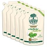 L'arbre vert Bien-être Recharge Crème Lavant Mains Menthe Basilic Bio aux Bienfaits d'Aloé Vera Bio/Extraits de Menthe Bio/De Basilic Bio -  Pack de 6