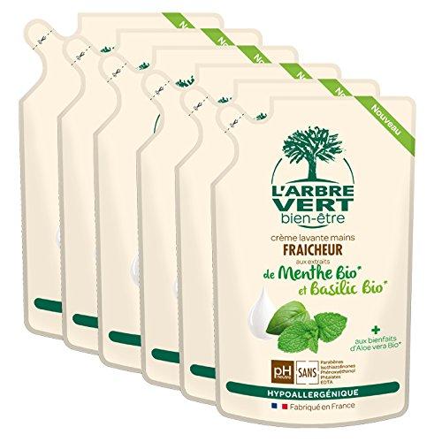 larbre-pack-de-6-vert-bien-tre-recharge-crme-lavant-mains-menthe-basilic-bio-aux-bienfaits-dalo-vera