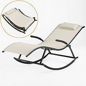 Sobuy ogs23 mi fauteuil bascule avec repose pieds pliant for Fauteuil bain de soleil pliant