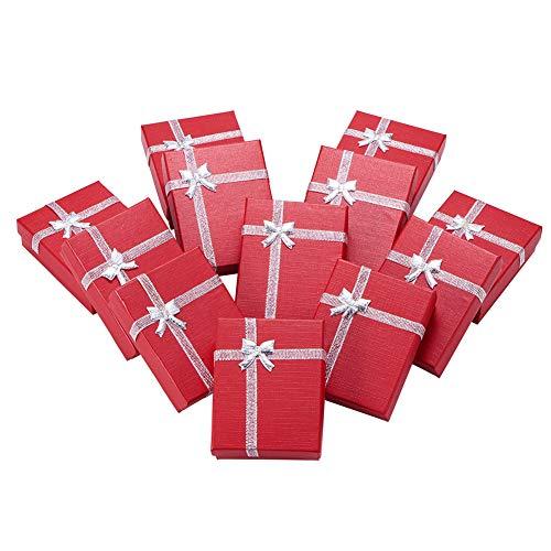 nbeads 12PCS Karton Schmuck Geschenk Cases Geschenkboxen Halskette & Armband Halter mit Fliege, Rot, 9 x 7 x 3cm (Halskette Mit Halter Schmuck Box)