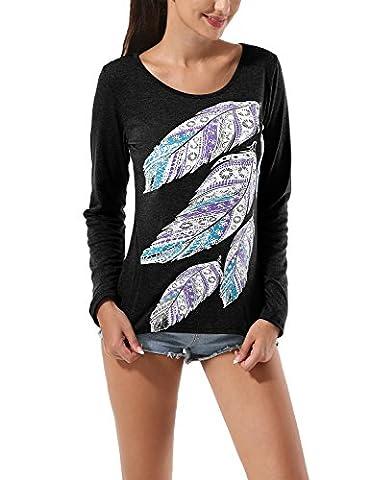 Flying Rabbit T-shirt Femme Col Rond- Plume Imprimé Manche longue-Casual Top Blouse Chemiser T-shirt Hauts Blouse Tops Slim Fit Automne (L, Noir)