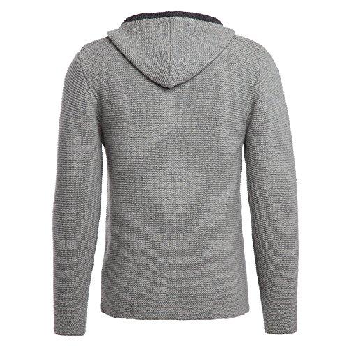 ALMBOCK Trachten Jacke Herren grau | Trachtenjacke mit Kapuze aus flauschiger und atmungsaktiver Lammwolle | Trachten Jacke Herren - Trachtenweste 54 - 2