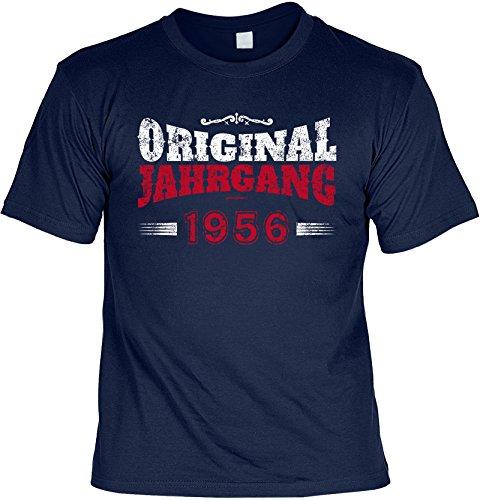 Shirt / Jahrgangs-Geburtstags-Shirt mit lustigem Spruch: Original Jahrgang 1956 geniales Geschenk Navy-Blau