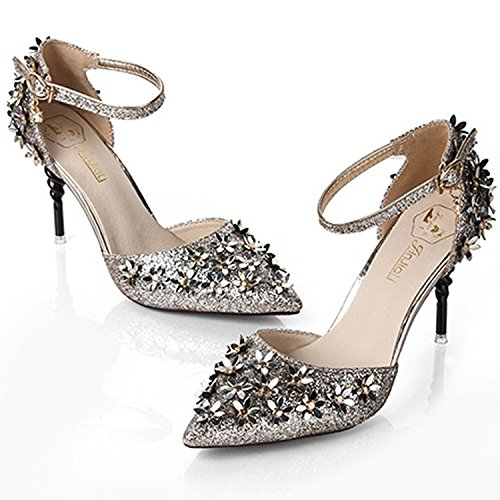 Oasap Women's Ankle Strap Pointed Toe Floral Sequins Stiletto Sandals Silver