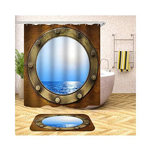 Bishilin Badematte 2 Set, 40x60 Badematte Waschbar Kabine Meer Badvorhang Anti-Schimmel 150x200