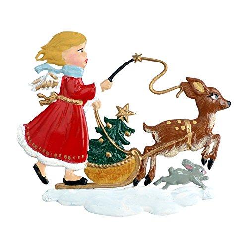 Zinngeschenke Rehlein zieht Engel beidseitig handbemalt aus Zinn. (LxH) 7,0 x 6,0 cm Weihnachtsbaumanhänger und Christbaumschmuck