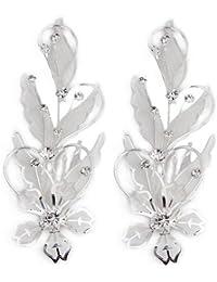 Skyllc® Peine nupcial del partido par plateado plata de la flor del Rhinestone de la novia del pelo regalo Pin CALIENTE