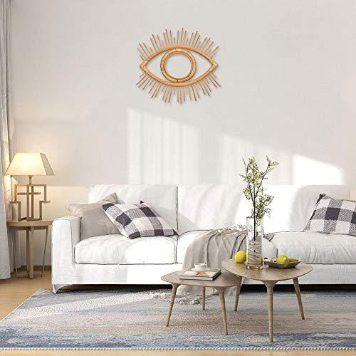 Raspbery Marco de espejo de ratán Boho Marco de espejo de pared colgante de ojo geométrico vintage...