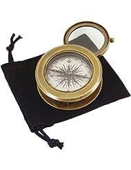 Générique 1127 Duo Boussole-Loupe Laiton vieilli Diamètre 7 cm