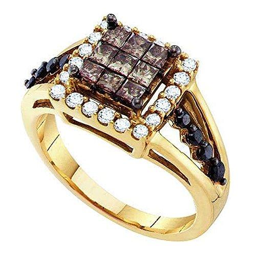 1,00Karat (ctw), 14K Gelb Gold Round & Princess Cut weiß, cognac & Schwarz Diamant Rechten Hand Ring 1ct (1-karat-diamant Ring Princess Cut)