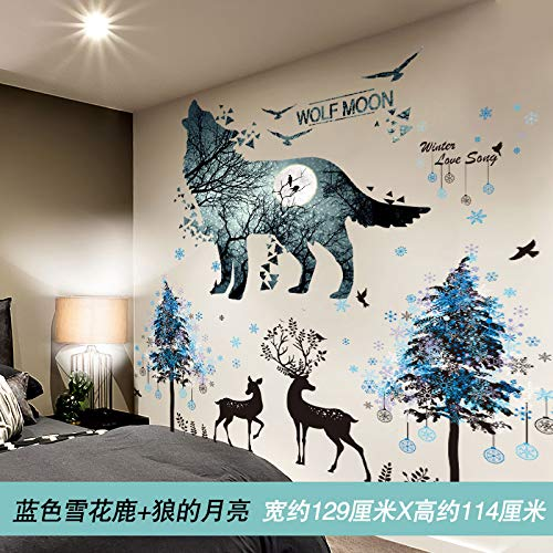Wallpaper dormitory students self-adhesive wallpaper bedroom wall decoration paste 3D dormitory poster paper,11 Blue Snowflake Deer Wolf's Moon,Extra large Blue Moon Coffee