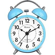 Hense clásica Retro Twin Bell Mute silencioso movimiento de cuarzo silencioso de barrido de segunda mano reloj de alarma analógica de escritorio con luz de noche y Loud Alarma HA01