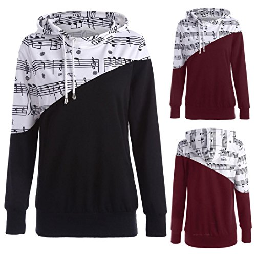 Toamen New Women Girls Fashion Spring Musical Note Print Patchwork Irregular Long Sleeve Loose Hooded Blouse Sweatshirt Tops Coats