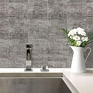 Fliesenaufkleber Beton Fliesen Sticker Aufkleber Kacheln Bad Küche Steinoptik Gestein Wanddeko grau Wall-Art - 20x25 cm - 4-er Set