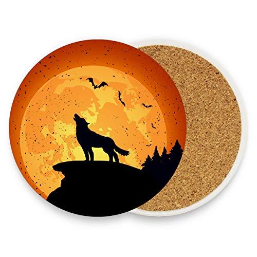 FAJRO Halloween-Hintergrund mit Wolf-Untersetzer, groß, 9,9 cm, passend für alle Tassen, Holz, 1, 1 piece set