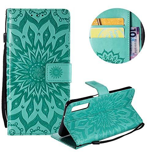 Gurt Brieftasche für Galaxy A7 2018,Grün Handyhülle für Galaxy A7 2018,Moiky Ziemlich Schöne Mandala Sonnenblume Geprägt Klappbar Kartenfächer Stoßdämpfende Ledertasche mit Stand