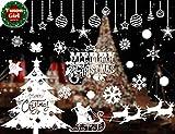 Yuson Girl Décoration Déco Noël DIY Fenêtre Noël Stickers Réutilisable Boule Sapin Noel Pére Cerf Noel Sticker Autocollant Noël Verre Vinyle Amovible Muraux Porte Décoré Noël Maison Murales
