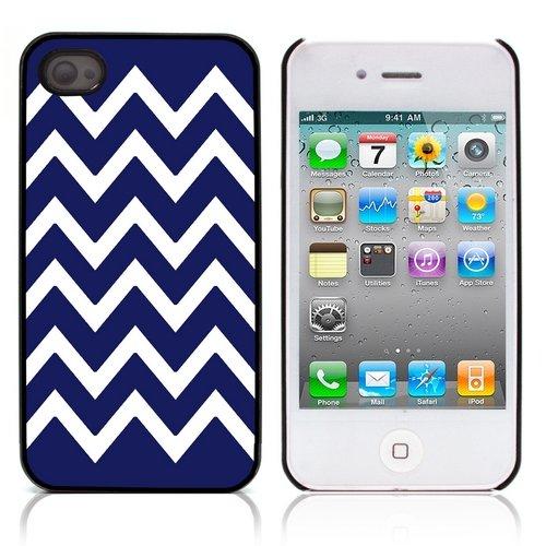 Graphic4You Chevron Muster Harte Hülle Case Tasche Schutzhülle für Apple iPhone 4 und 4S (Gelb) Marineblau