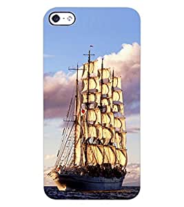 ColourCraft Beautiful Ship Design Back Case Cover for APPLE IPHONE 4
