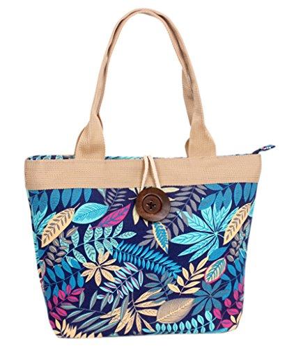 Fortuning's JDS® Nuovo stile floreale tela stampata con disegno del tasto di legno borsa da lavoro borsa tote Lascia uno stile