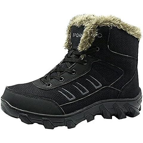 Giacca impermeabile neve stivali in pelle pelliccia invernale lavoro caviglia Martin alto con lacci scarpe da ginnastica da Aiyuda, Uomo, Black, UK 9/ EU 47