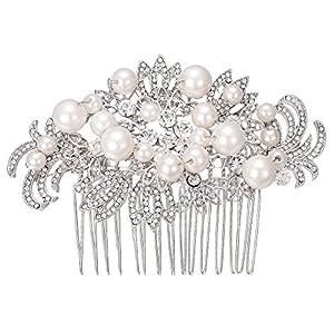 Clearine Damen Hochzeit Braut Kristall Künstliche Perlen Aushöhlen Blatt Blume Haarkamm Klar Silber-Ton