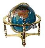 Unique Art 21-Inch Tall Turquoise Ocean Table Top Gemstone World Globe with 4 Leg Gold Stand