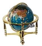 Unique Einzigartige Kunst 53,3cm hoch türkis Ocean Tisch Top Edelstein World Globe mit 4Bein Gold Ständer
