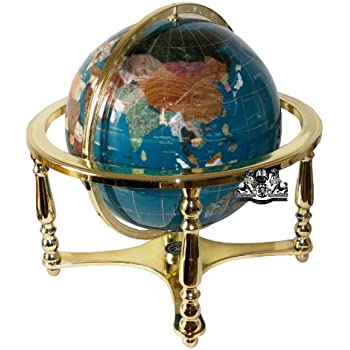 Unique art 21 inch tall pearl ocean table top gemstone world globe unique art 21 inch tall turquoise ocean table top gemstone world globe with 4 leg gold stand gumiabroncs Image collections