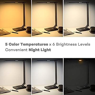 TaoTronics Schreibtischlampe LED Tageslichtlampe 100% Metall 12W Touch-Control 5 Farbetemperaturen und 6 Helligkeiten mit USB-Anschluss 5V 2A zum Aufladen von Smartphones und Tablets, Eisen-Grau von TaoTronics