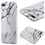"""GrandEver Soft Back Cover for Apple iPhone 7 Plus Silicone Case Printed Marble Stone Pattern iPhone 7 Plus TPU Bumper Protective Slim Gel Skin Rubber Case Flexible Shock Scratch Resist Protection Shell for iPhone 7 Plus (5.5"""") -- White Grain"""
