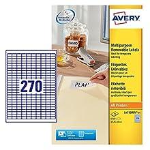 Avery L4730REV-25 Etichette Rimovibili, 270 Pezzi per Foglio, 25 Fogli, 17.8 x 10, Bianco