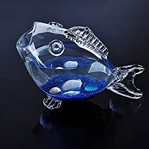 HeKai Transparent Glass Fish-shaped Fish Tank Aquarium Fish Tank Glass Home Living Room Office Craft Ornaments (Color…