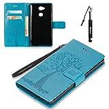 Huphant Compatible for Sony Xperia XA2 Ultra Hülle, Sony Xperia XA2 Ultra Tasche Leder, Flip Case Wallet Case Magnet Schutzhülle Klappbar für Sony Xperia XA2 Ultra (6 Zoll) - Blau
