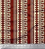 Soimoi Rot Baumwolle Ente Stoff griechische Schlüssel