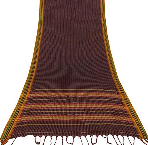 Vintage Indian Purple Saree Baumwolle Seide gewebt ethnischen Handwerk verwendet Sari Stoff 5 Yards