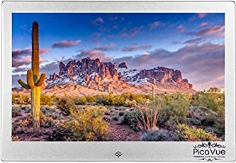 PicaVue Ultra Slim 10 Inches Digital Photo Frame High Resolution with Motion Sensor, SD/USB, Plays Photo Slideshow, Video, Audio, Silver