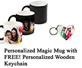 PyramidMart Personalized Color Changing Magic Photo Mug with Free! Wooden Keychain - Customize Both with Your Own Photos & Texts